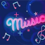 148 Create Neon Background with Music Word in Adobe Illustrator