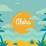 164 Beach Aloha Background with Palm Trees Vintage Style in Adobe Illustrator