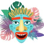 176 Aloha Background with Nice Tiki Mask in Adobe Illustrator
