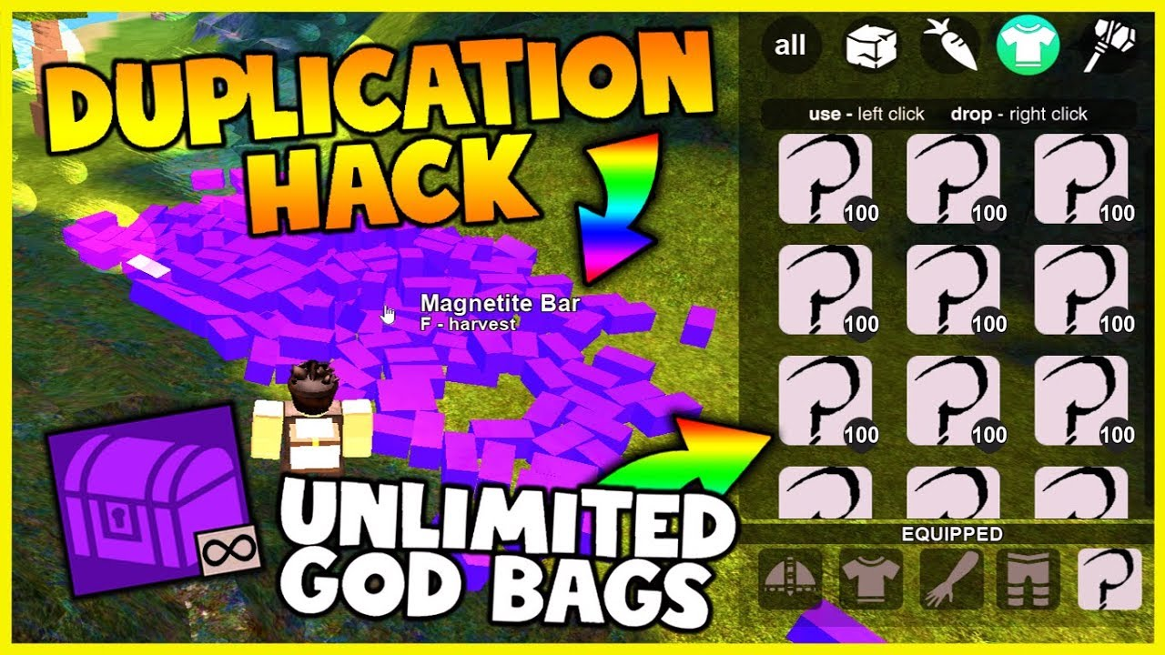 Hacking Scripts For Roblox Booga Booga New Insane Booga Booga Dupe Hack Roblox Duplication Hack Infinite God Bag Unlimited Magnetite